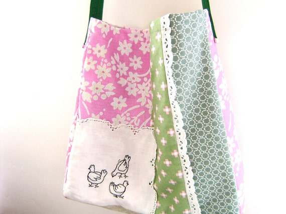 Embroidered Messenger Bag - 'La Basse-court' large patchwork bag in pink and green