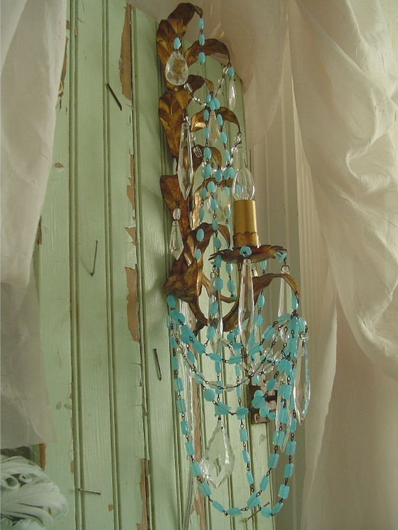 A....oOo.. Vintage Italian Aqua BLue Opaline Beaded Chandelier Sconce...LaYAWaY AVaiLaBLe
