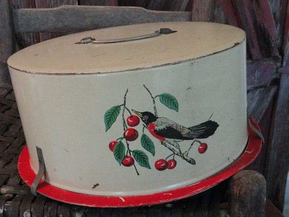 Shabby Chic Vintage Cakepan Robin/Oriole and Cherries