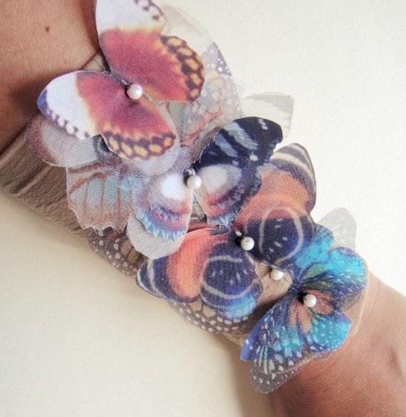 Fluttery бабочки широкий браслет манжеты или ножной браслет-Сделано на заказ