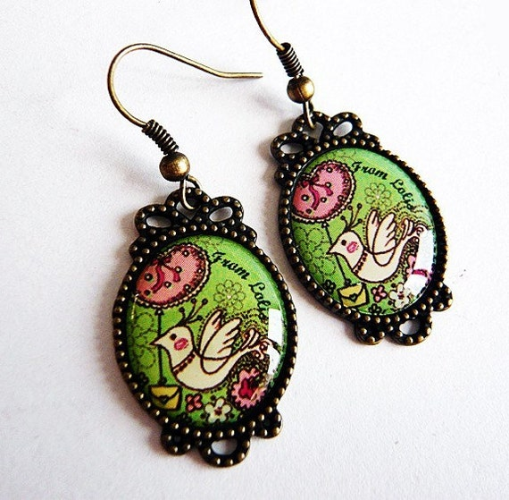 Darling Lime Green Bird Earrings by MaruMaru on Etsy from etsy.com