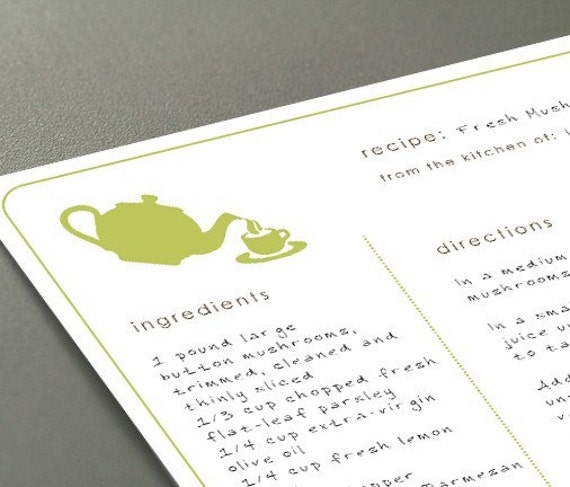 Printable recipe cards - modern designs - Typeable