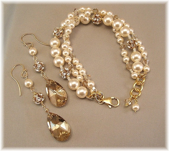 Golden Hue Bracelet and Earring Set  Swarovski Pearls by Handwired from etsy.com