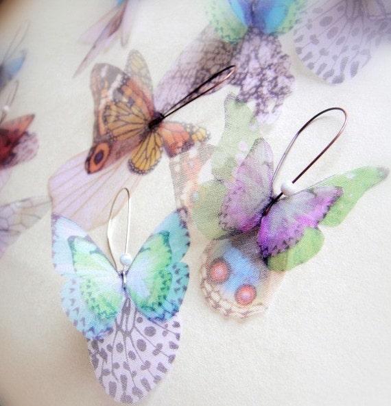 Бабочки все более PAIR органза Серьги