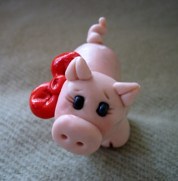 Polymer Clay Pig With Big Red Bow