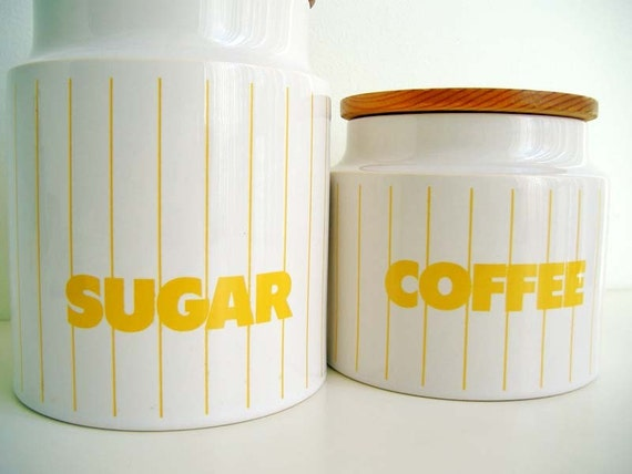 Hornsea Sugar and Coffee Jars White and Yellow with Wooden Lids