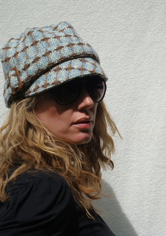 Womens Hat - Blue/brown tweed cap