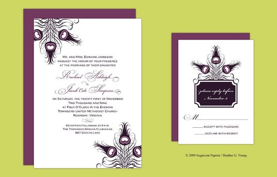 Elegant Purple Peacock Wedding Invitation Set Sample