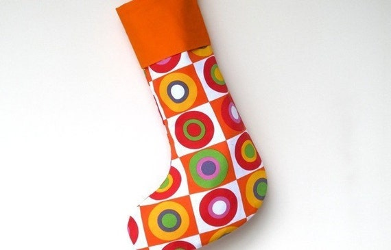 Modern Christmas Stocking - Christmas Balls - Orange Cuff