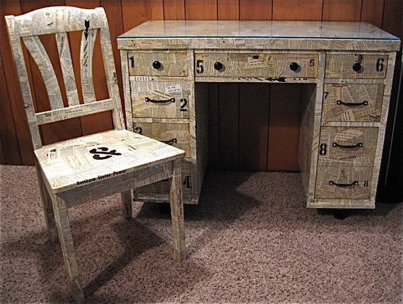 Funky Up Cycled VINTAGE Writing DESK and CHAIR