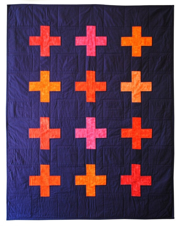 Cross Crib Quilt - Eggplant