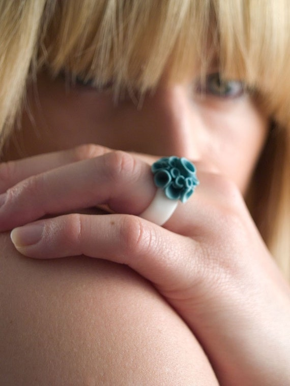 Custom Ring , Baja Turquoise and White Porcelain Ring