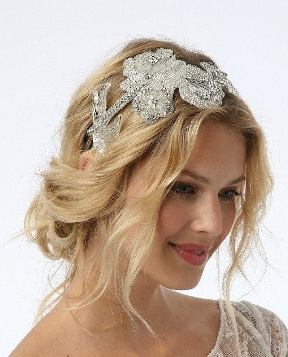 PENELOPE - Glamorous and Intricate Rhinestone Applique on a skinny silk wrapped headband