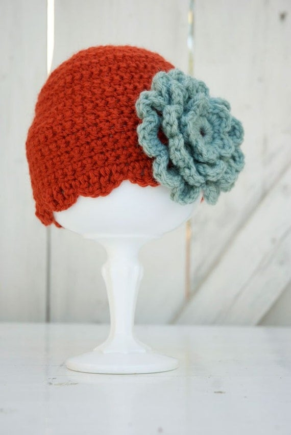 The Ella Cap - Brick Red with Seaspray Flower, Any Size