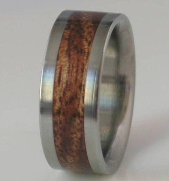 Titanium Wood Ring Koa Wedding Band Hawaiian Koa Wooden Inlay Bands