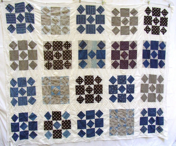 VINTAGE QUILT TOP, C 1900, Blues, Blacks, Browns, Polka Dots, Paisley,  eye catcher, 90 X 74
