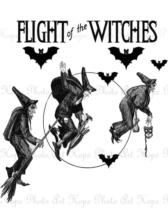 Flight of the Witches Image Transfer - Burlap Feed Sacks Canvas Pillows Tea Towels greeting cards paper supplies- U Print JPG 300dpi