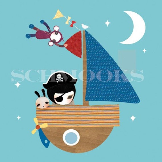 Boy Bedroom Boat Art Print - 'Smooth Sailing'