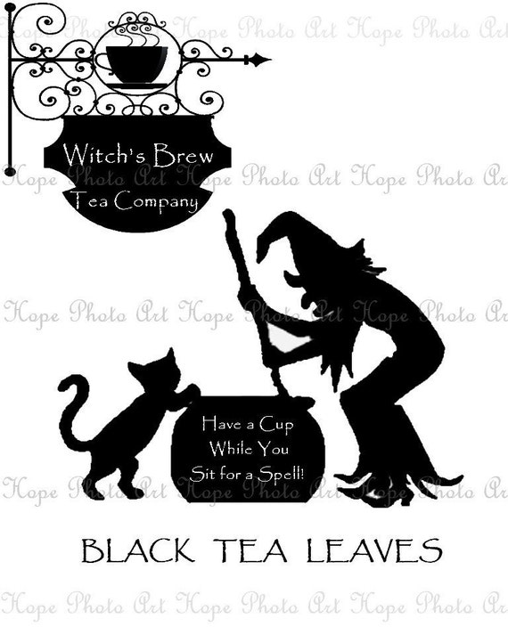 Halloween Witch's Brew Tea Image Transfer - Burlap Feed Sacks Canvas Pillows Tea Towels greeting cards paper supplies- U Print JPG 300dpi