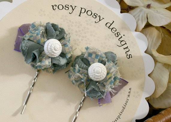 Floral Hair Bobby Pins in Light Turquoise Blue with Vintage Seashell Buttons