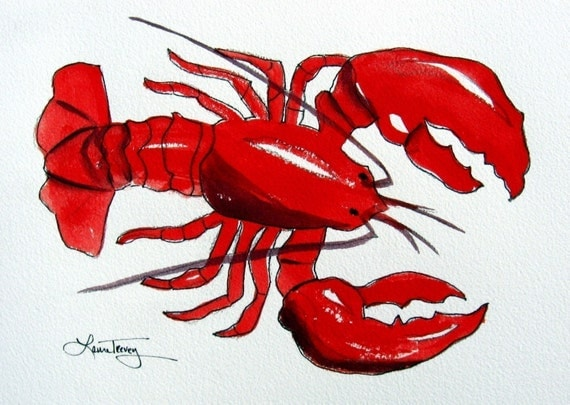 Red Lobster  Watercolor Print