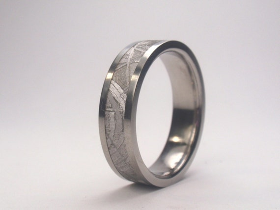 Mens Ring - Titanium Ring Inlaid with Meteorite