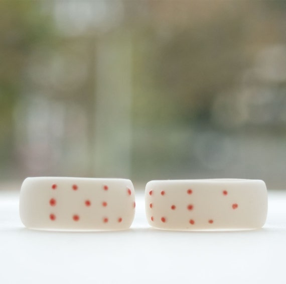 LOVE BRAILLE Porcelain Ring, White Porcelain, Coral Red Dots ,Gift for her under 50,Gift Wrapping
