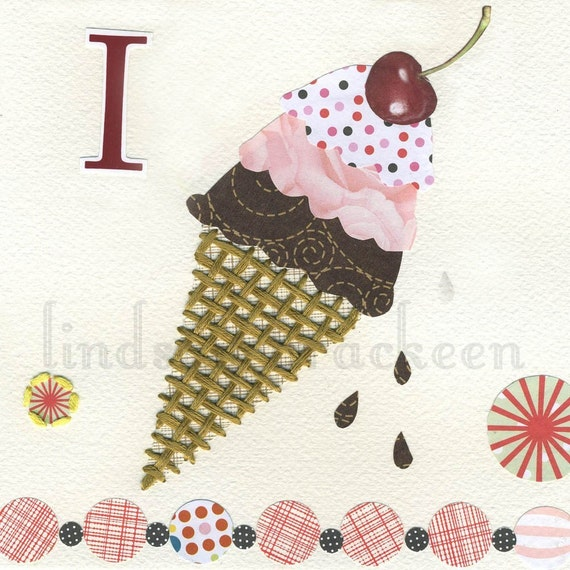 Alphabet Nursery Art Print Letter I as in Ice Cream