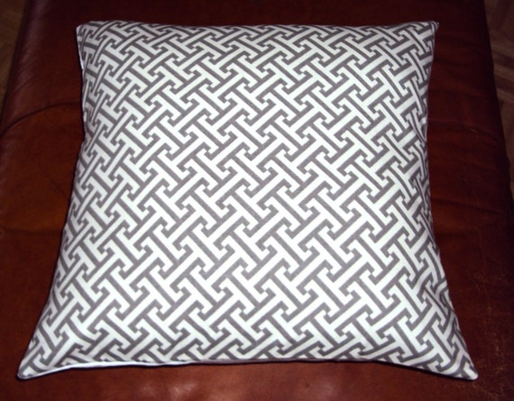 Waverly Cross Section Charcoal Gray Lattice Fabric Pillow Cover - FREE SHIPPING