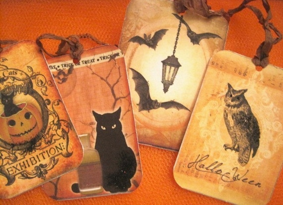 Vintage Halloween Gift Tags - Retro - Children - Witches - Bats - Cats - Embossed - Glass Glitter - Buy Three Get One Free