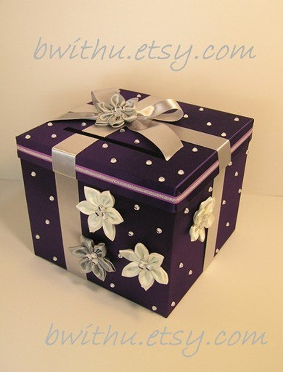 Purple and silver Wedding Card Box Gift Card Box Money Card Box