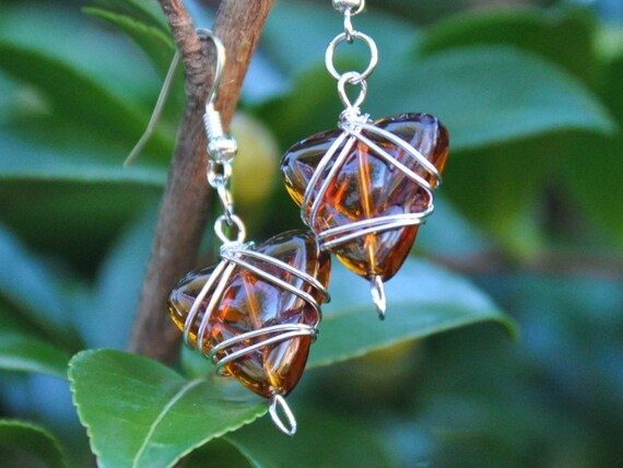 Dark amber ale glass dangle earrings