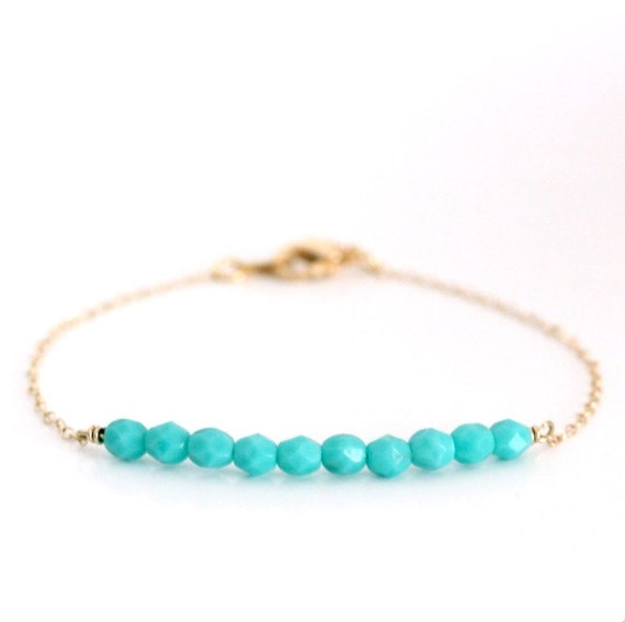 Beaded Bar Bracelet - Turquoise