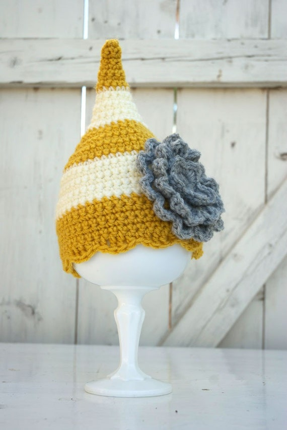 The Poppy Cap - Mustard and Lamb with Gray Flower, Any Size