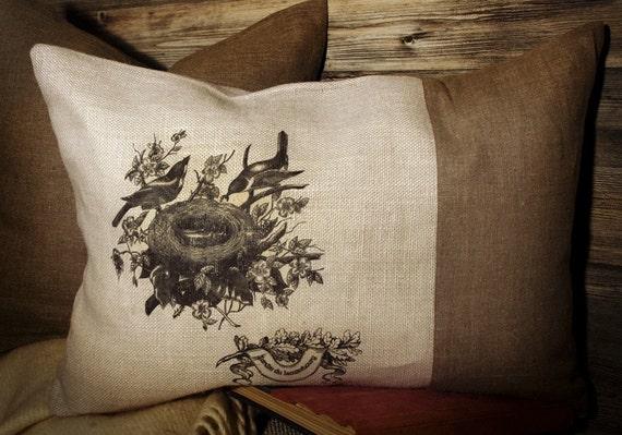 Мешковина Чехол французской печати Птичье гнездо