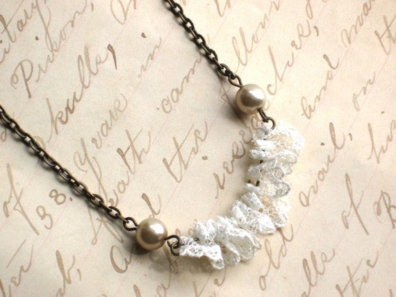 Lace Ruffle and Pearl  Necklace