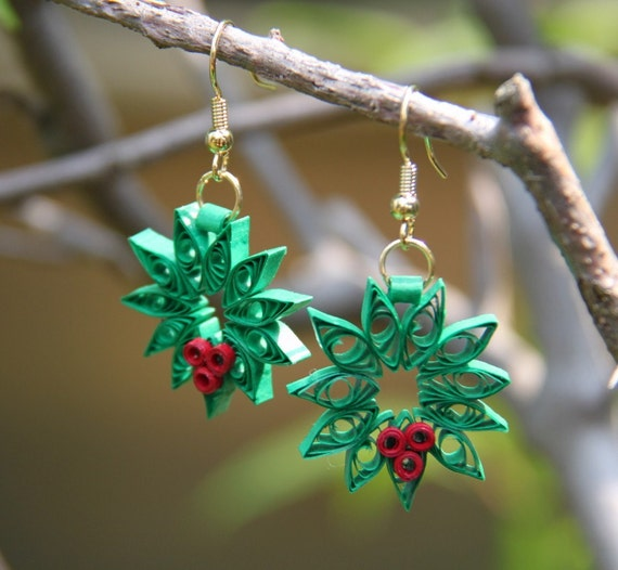 Christmas Wreath Earrings Handmade by Paper Quilling