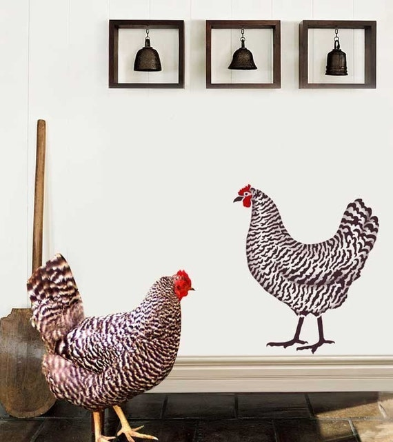 Dominique Chicken Stencil 2 Overlays - Easy wall Decor with Stencils - Kitchen decor