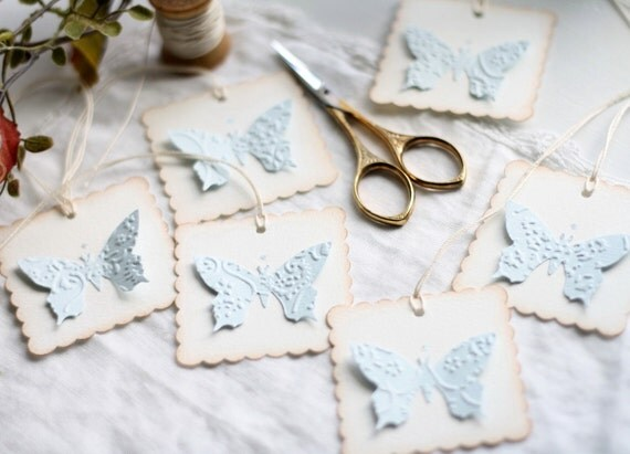 Gift Tags - Handmade, Embossed Butterfly
