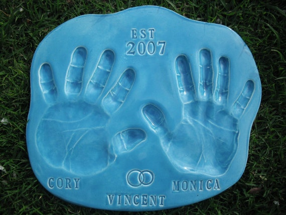 Wedding or Anniversary Garden Stoneware Handprint Stepping Stone with Mold Kit and Shipping