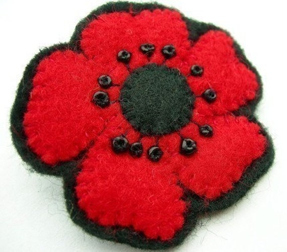 Little Red Poppy, felt flower brooch