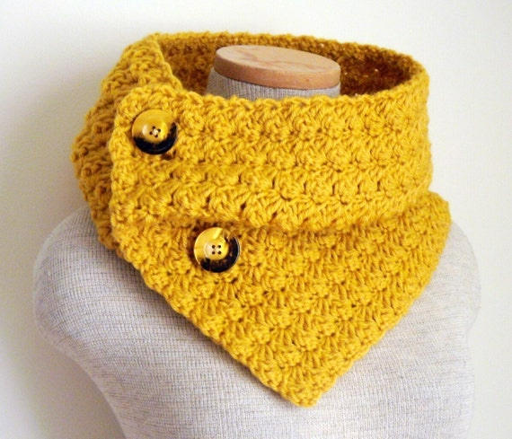 Yellow Mustard Cowl Scarf Neckwarmer with Vintage Buttons