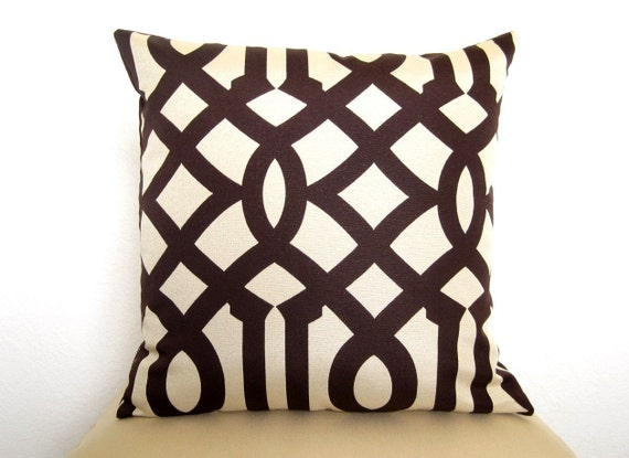 Pair of 2 Imperial Trellis Designer Pillows - 18 inch - Java Brown and Cream - Trellis Pillows - Lattice Pillows - Throw Pillows