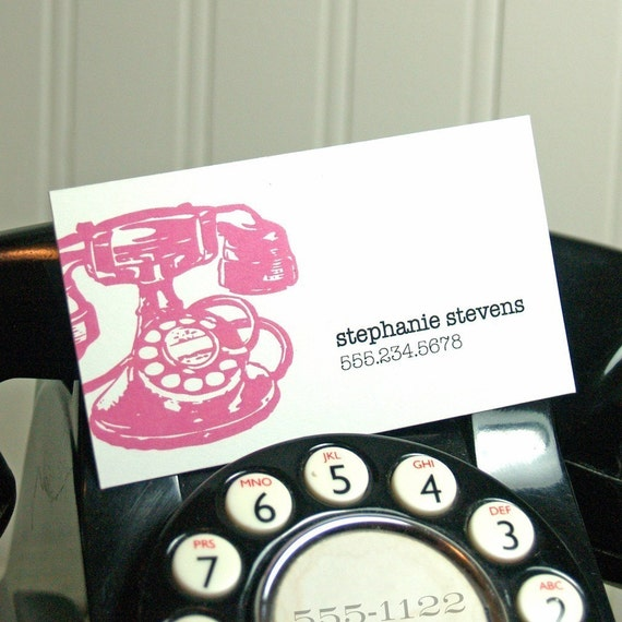 personalized calling cards -vintage telephone (50 cards)