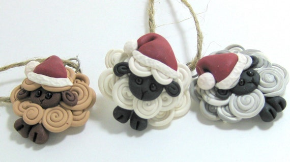 3 Santa's little helpers Flock of Sheep Ornaments