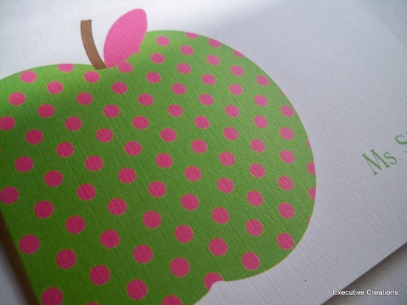 Green and Pink Polka Dot Apple Notecards