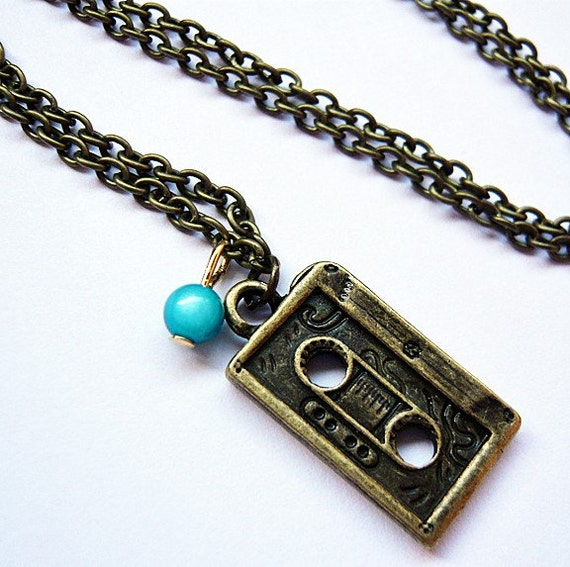 Recording Tape Cassette Necklace by MaruMaru on Etsy from etsy.com