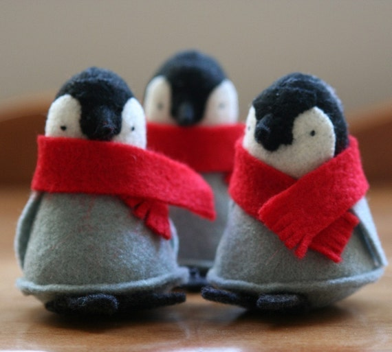1 penguin with red scarf