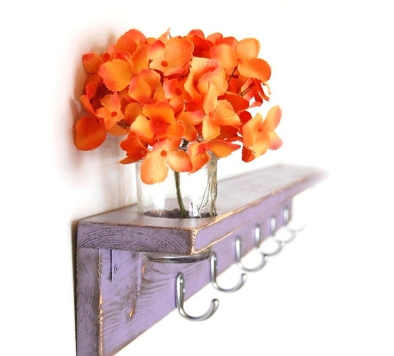 Wood shelf Shabby chic furniture coat hanger Purple Lilac silver hooks 36""
