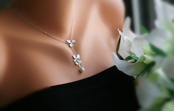 Elegant lariat Orchid Flowers STERLING Silver Necklace, Birthday, Bridesmaid gifts, Bridal Wedding Jewelry